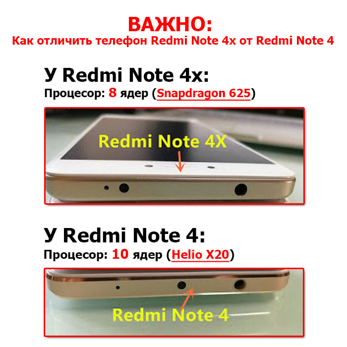 как отличить redmi note 4x от redmi note 4